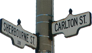 Street signs: Sherbourne and Carlton Streets